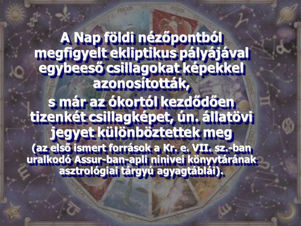 A Nap földi nézőpontból megfigyelt ekliptikus pályájával egybeeső csillagokat képekkel azonosították,