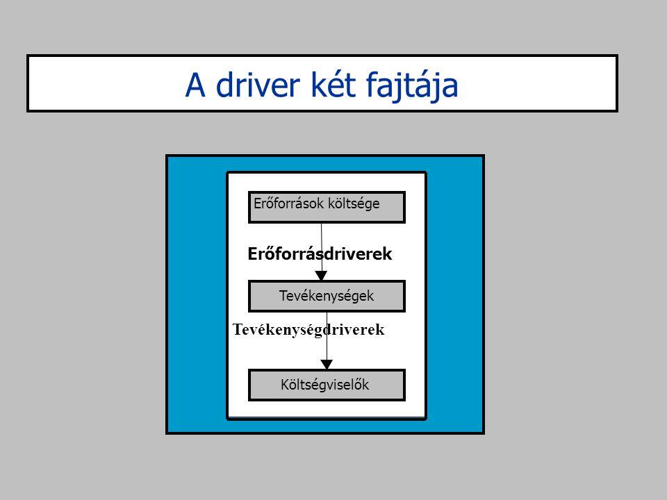 A driver két fajtája Erőforrásdriverek Tevékenységdriverek