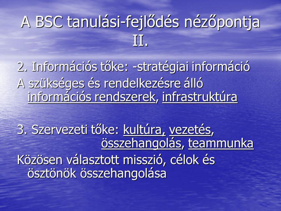 A BSC tanulási-fejlődés nézőpontja II.