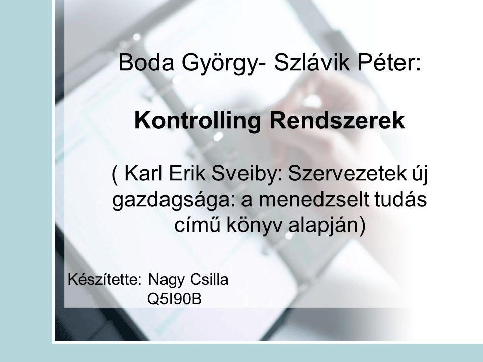 Boda György- Szlávik Péter: Kontrolling Rendszerek ( Karl Erik Sveiby: Szervezetek új gazdagsága: a menedzselt tudás című könyv alapján)