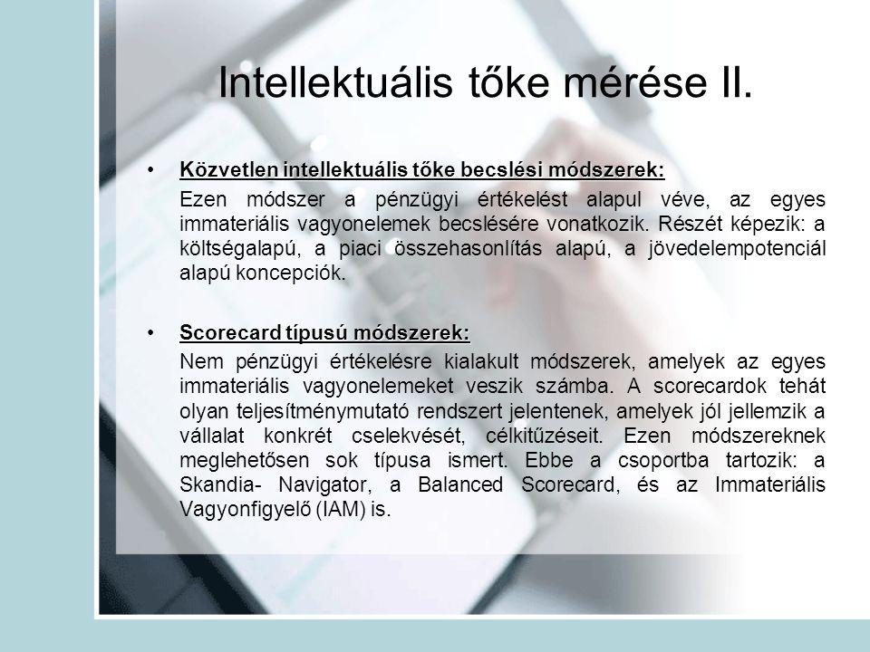 Intellektuális tőke mérése II.