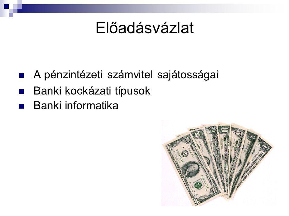 Előadásvázlat A pénzintézeti számvitel sajátosságai