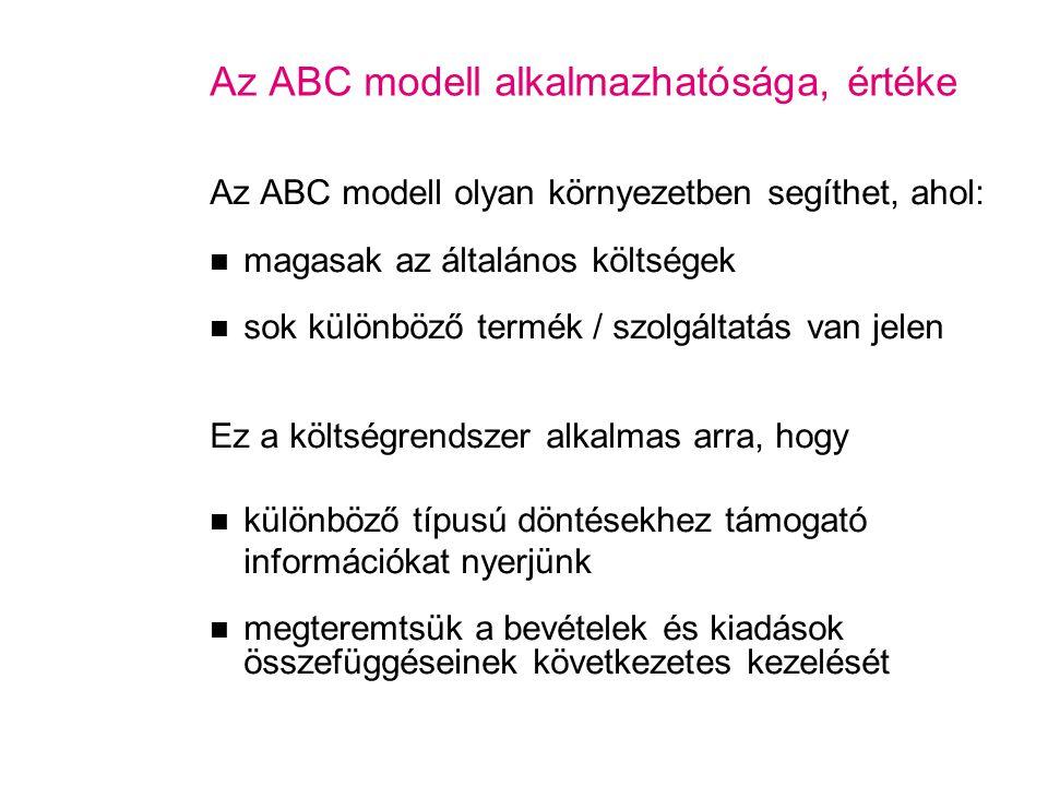 Az ABC modell alkalmazhatósága, értéke