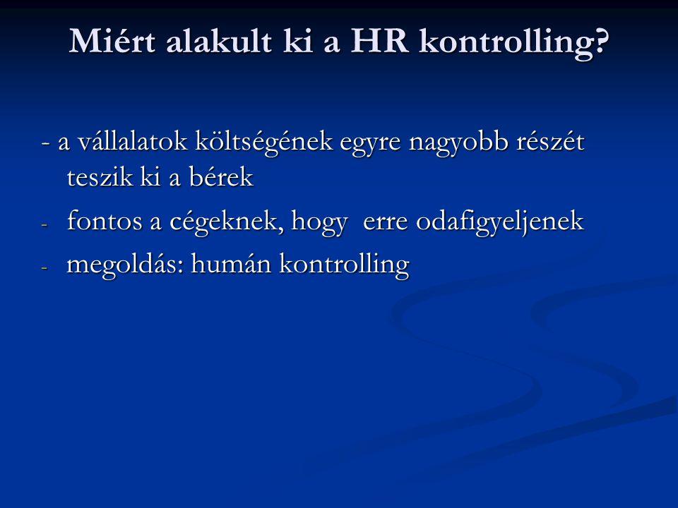 Miért alakult ki a HR kontrolling