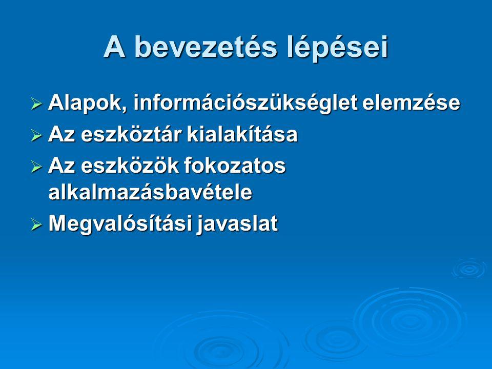A bevezetés lépései Alapok, információszükséglet elemzése