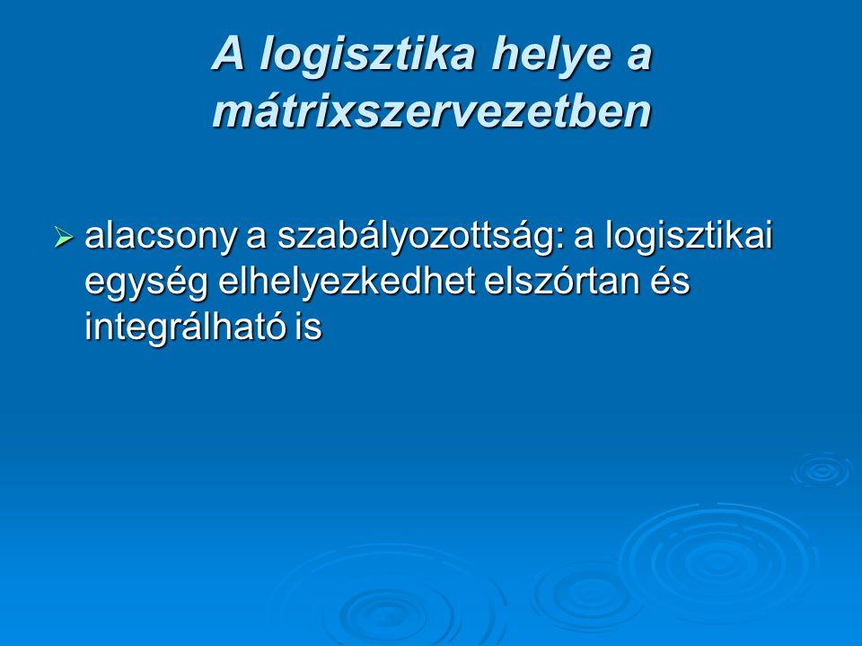 A logisztika helye a mátrixszervezetben