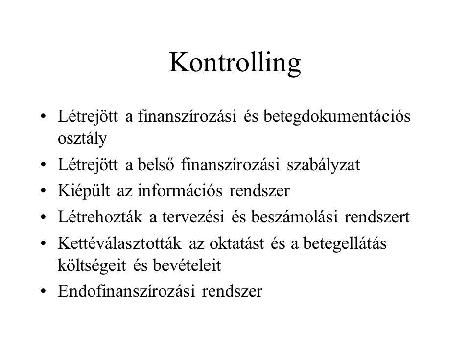 Kontrolling Létrejött a finanszírozási és betegdokumentációs osztály