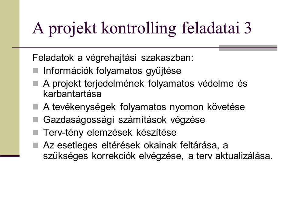 A projekt kontrolling feladatai 3