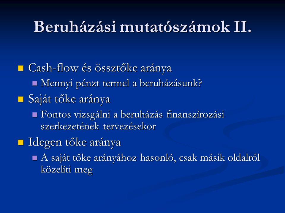 Beruházási mutatószámok II.