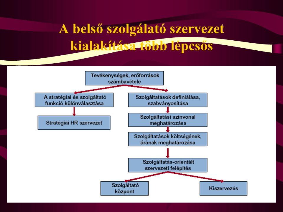 A belső szolgálató szervezet kialakítása több lépcsős