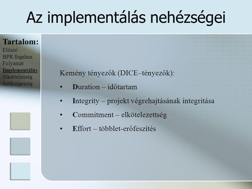 Az implementálás nehézségei