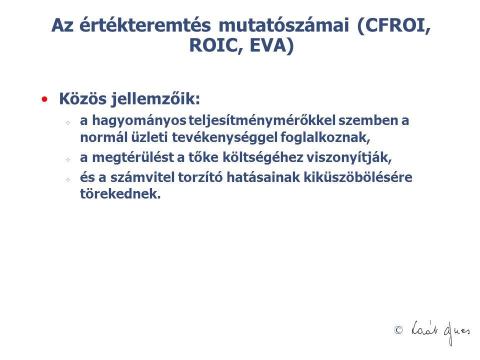 Az értékteremtés mutatószámai (CFROI, ROIC, EVA)