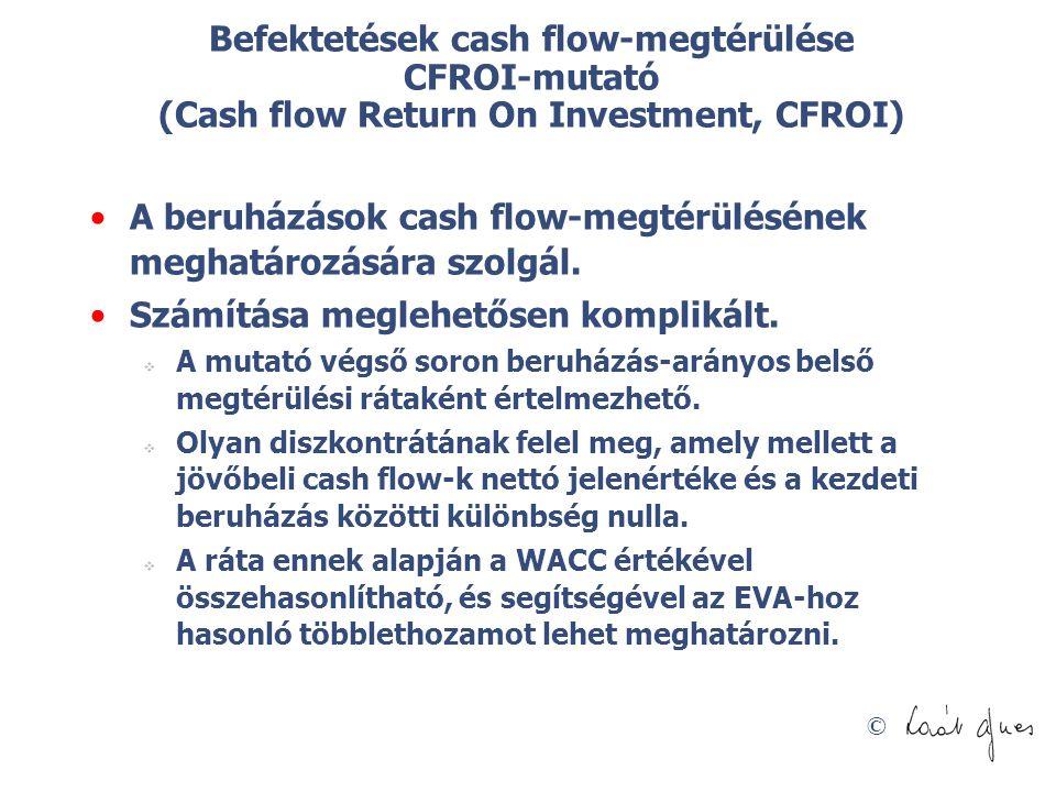 A beruházások cash flow-megtérülésének meghatározására szolgál.