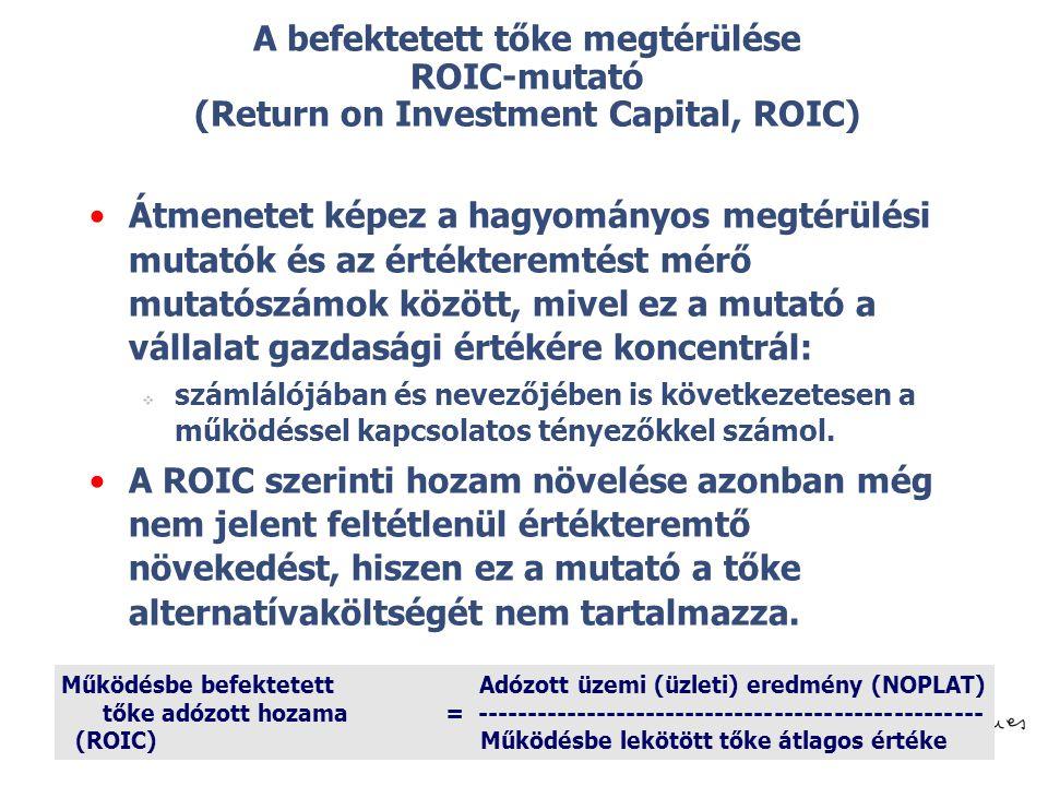 A befektetett tőke megtérülése ROIC-mutató (Return on Investment Capital, ROIC)