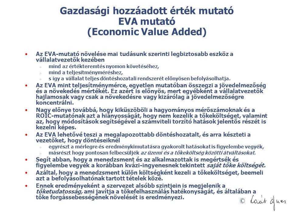 Gazdasági hozzáadott érték mutató EVA mutató (Economic Value Added)