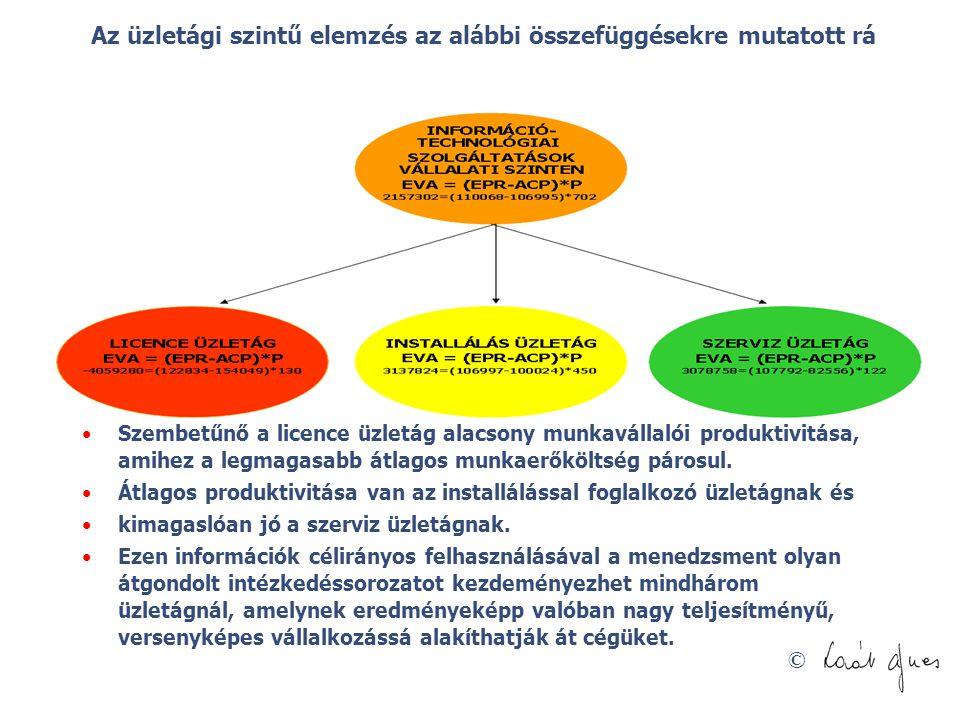 Az üzletági szintű elemzés az alábbi összefüggésekre mutatott rá