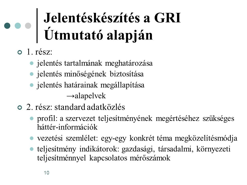 Jelentéskészítés a GRI Útmutató alapján
