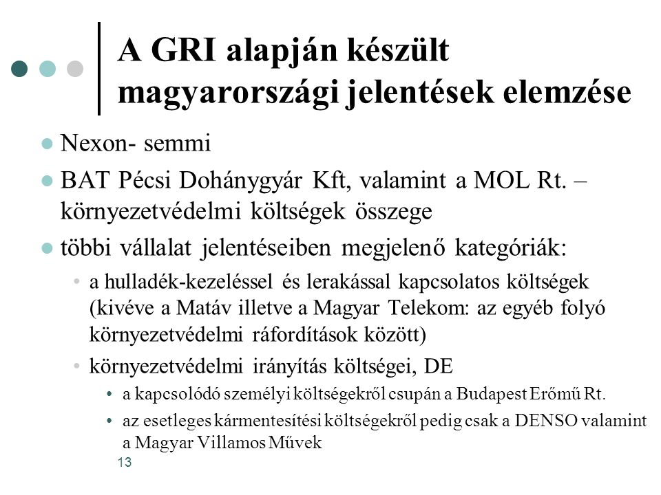 A GRI alapján készült magyarországi jelentések elemzése