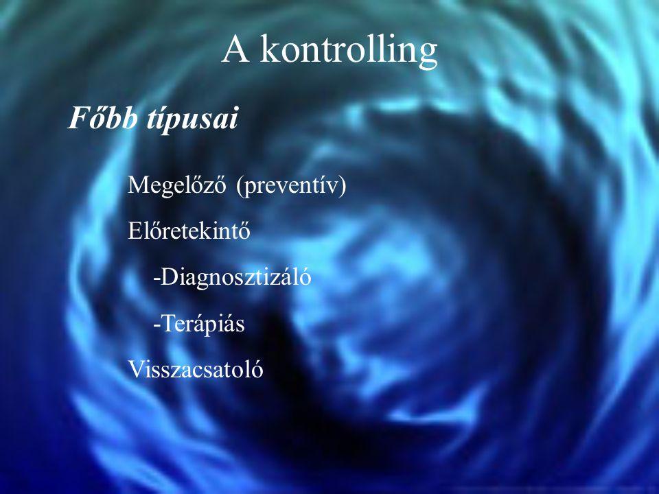 A kontrolling Főbb típusai Megelőző (preventív) Előretekintő