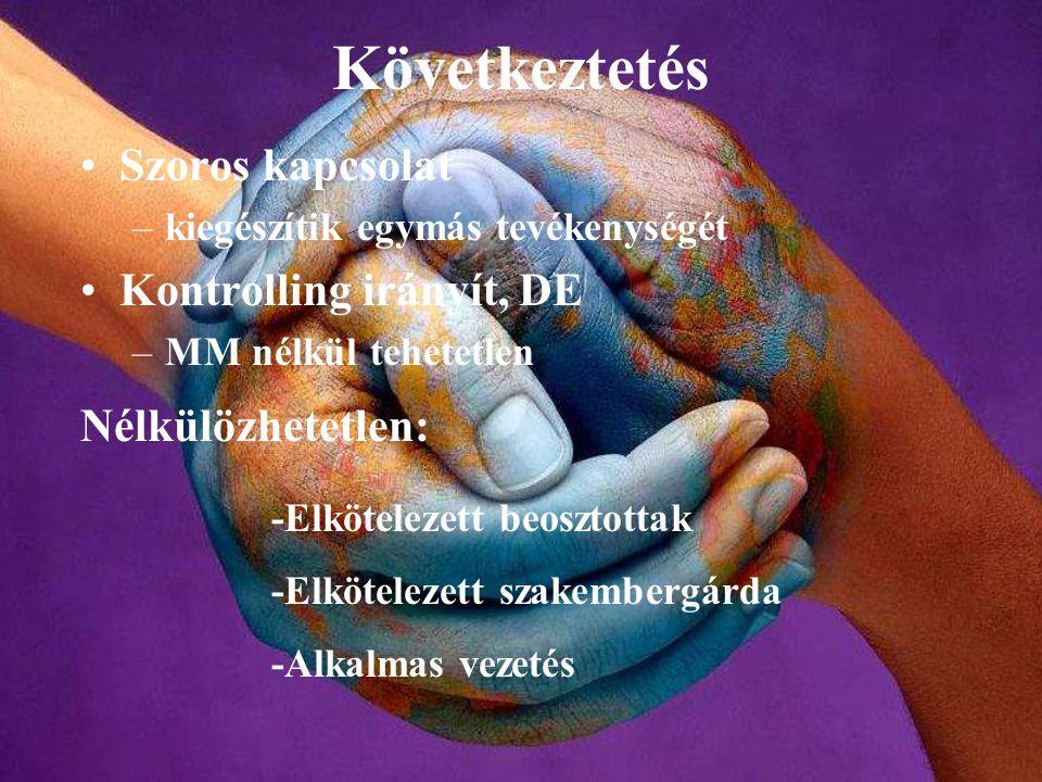 Következtetés Szoros kapcsolat Kontrolling irányít, DE