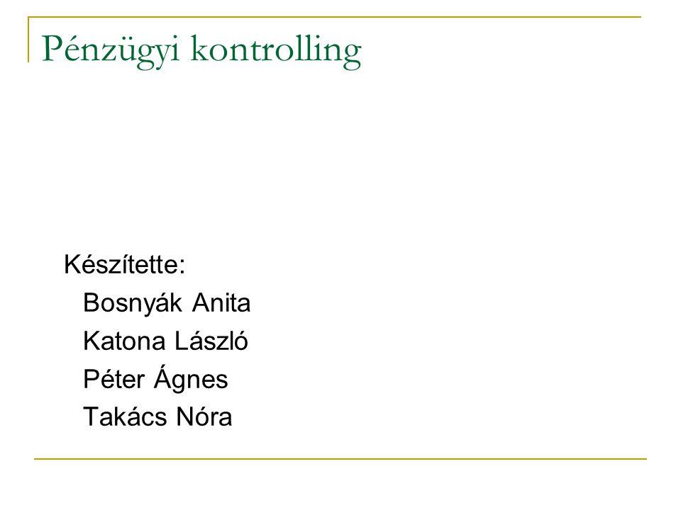Pénzügyi kontrolling Készítette: Bosnyák Anita Katona László