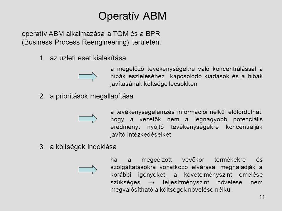 Operatív ABM operatív ABM alkalmazása a TQM és a BPR (Business Process Reengineering) területén: az üzleti eset kialakítása.