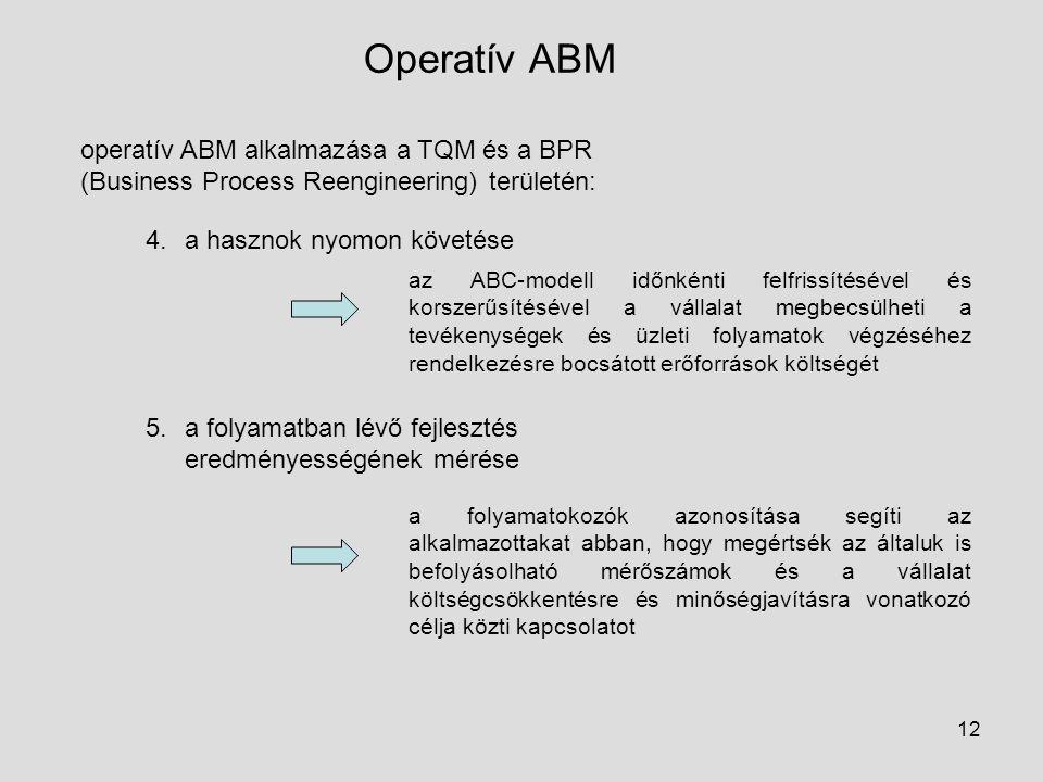 Operatív ABM operatív ABM alkalmazása a TQM és a BPR (Business Process Reengineering) területén: a hasznok nyomon követése.