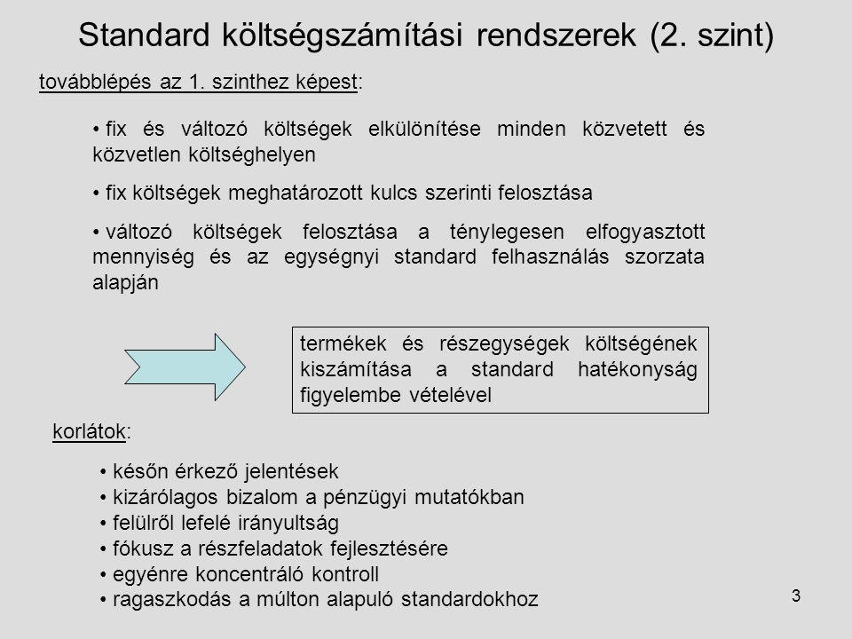Standard költségszámítási rendszerek (2. szint)