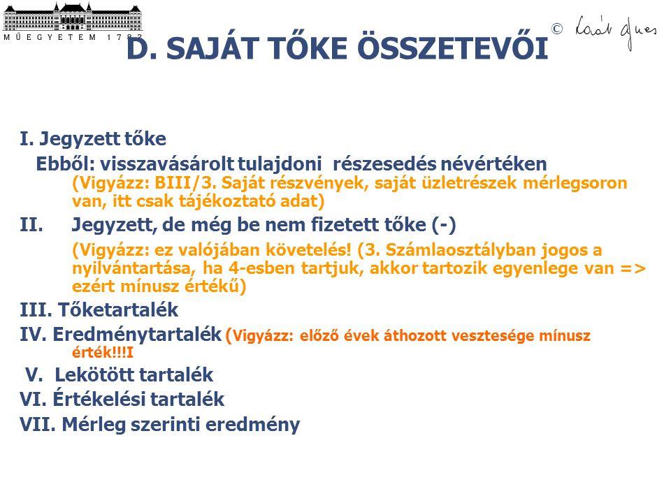 D. SAJÁT TŐKE ÖSSZETEVŐI