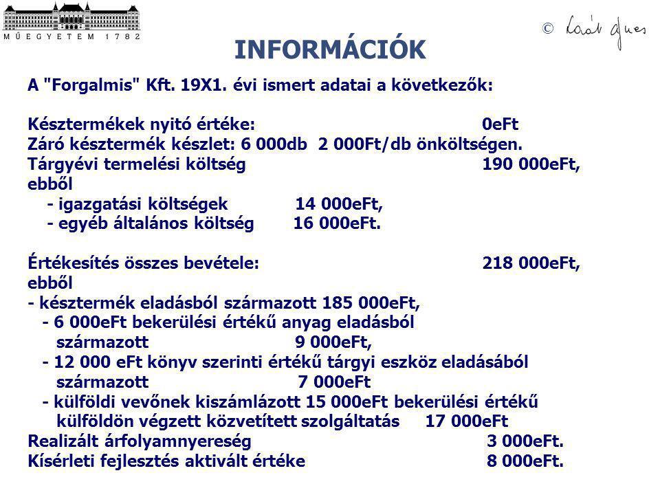 INFORMÁCIÓK A Forgalmis Kft. 19X1. évi ismert adatai a következők: