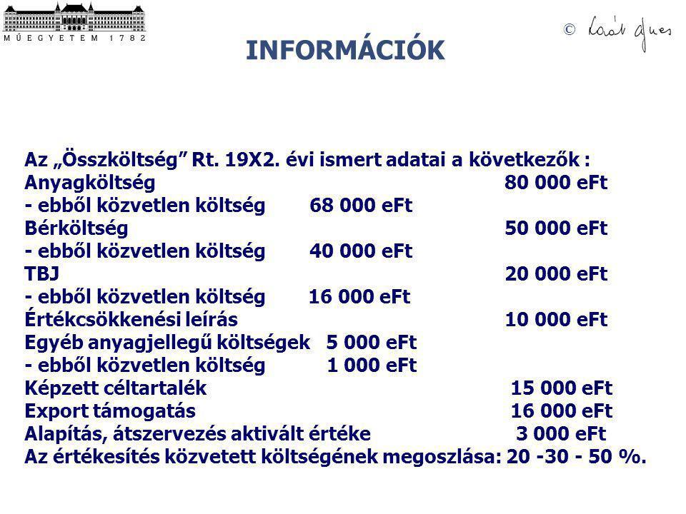"""INFORMÁCIÓK Az """"Összköltség Rt. 19X2. évi ismert adatai a következők : Anyagköltség 80 000 eFt."""