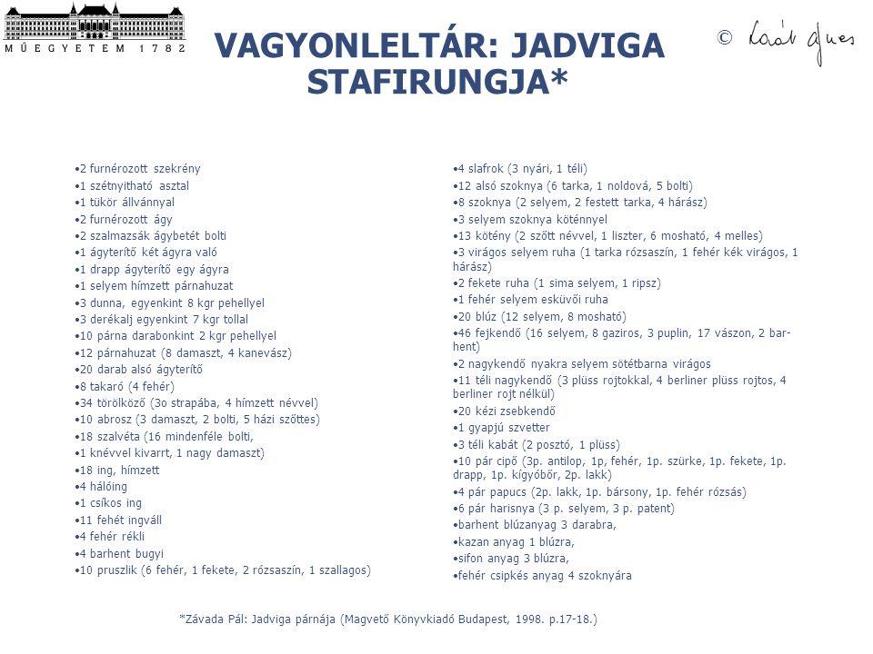 VAGYONLELTÁR: JADVIGA STAFIRUNGJA*