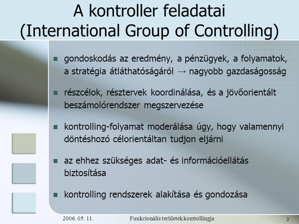 A kontroller feladatai (International Group of Controlling)