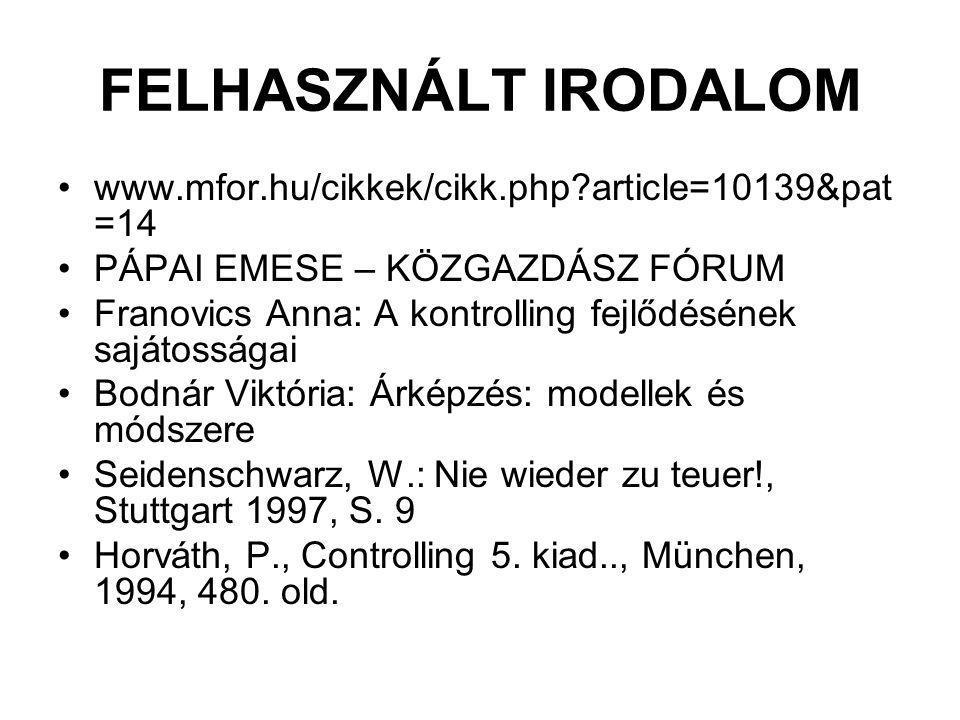 FELHASZNÁLT IRODALOM www.mfor.hu/cikkek/cikk.php article=10139&pat=14