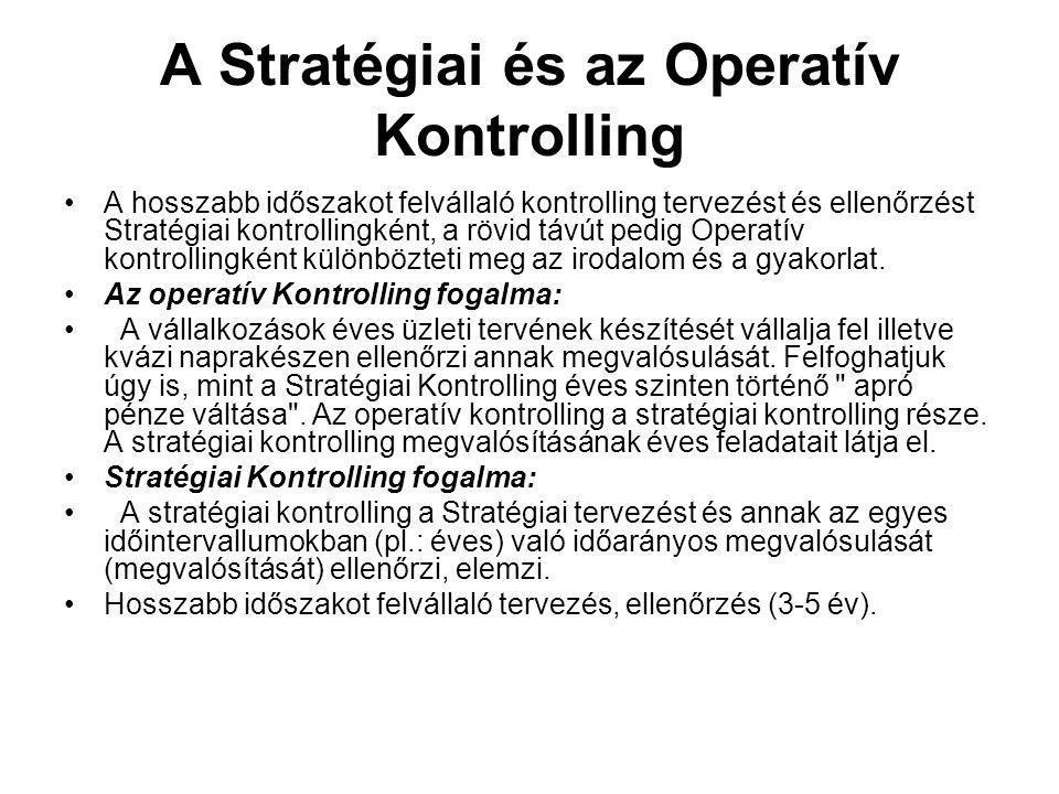 A Stratégiai és az Operatív Kontrolling
