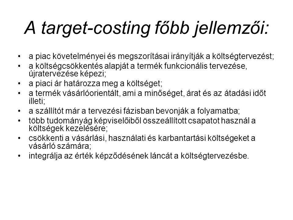 A target-costing főbb jellemzői: