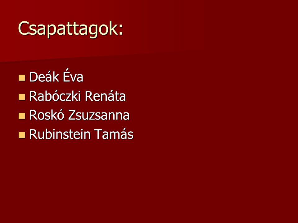 Csapattagok: Deák Éva Rabóczki Renáta Roskó Zsuzsanna Rubinstein Tamás