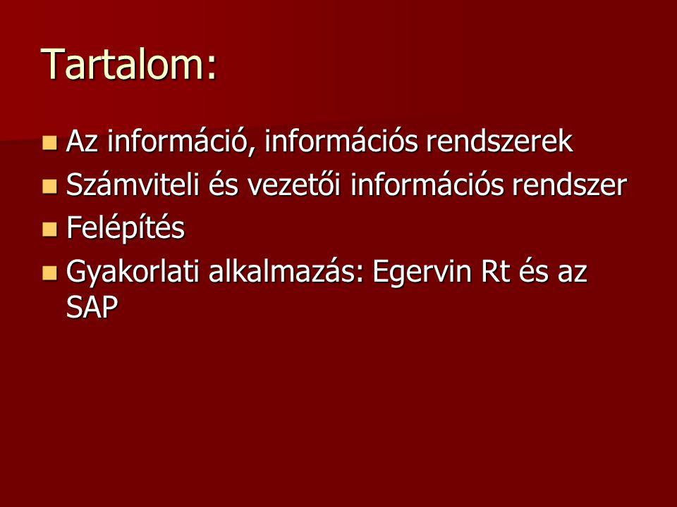 Tartalom: Az információ, információs rendszerek