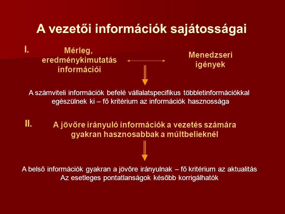 A vezetői információk sajátosságai