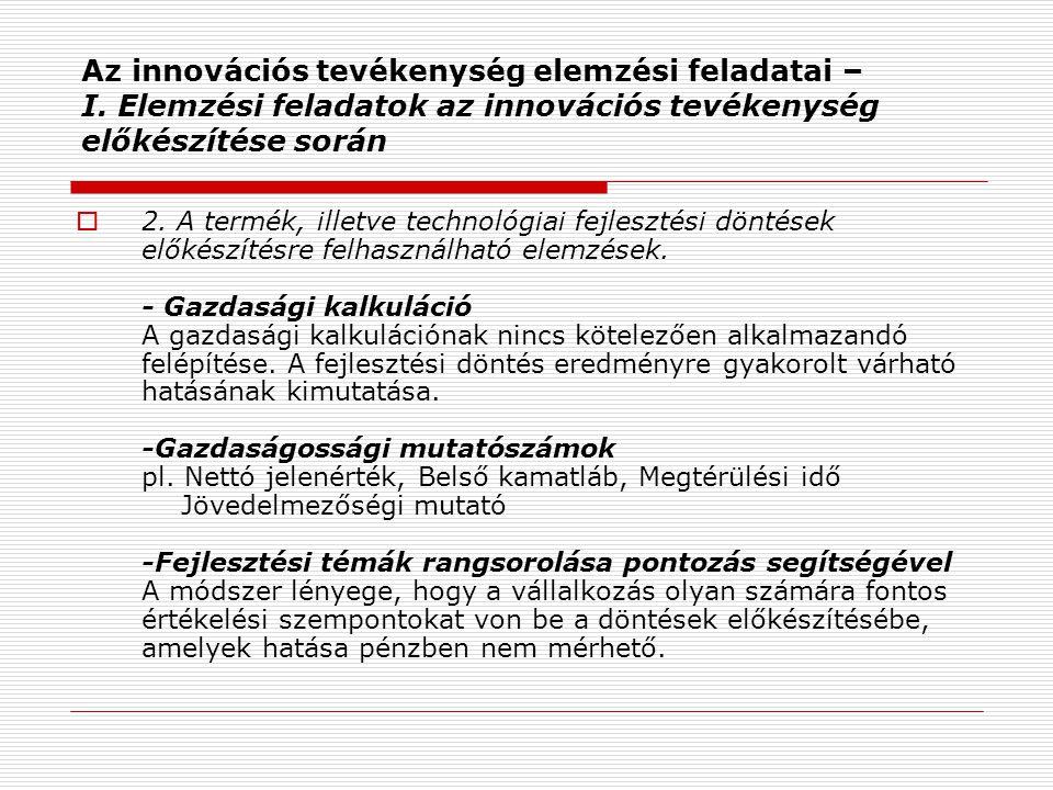 Az innovációs tevékenység elemzési feladatai – I