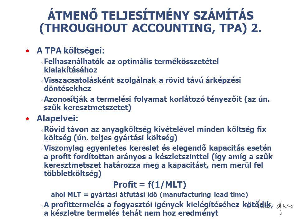 ÁTMENŐ TELJESÍTMÉNY SZÁMÍTÁS (THROUGHOUT ACCOUNTING, TPA) 2.