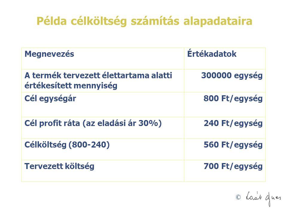 Példa célköltség számítás alapadataira