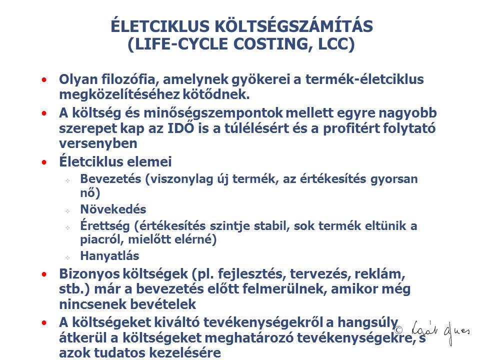 ÉLETCIKLUS KÖLTSÉGSZÁMÍTÁS (LIFE-CYCLE COSTING, LCC)