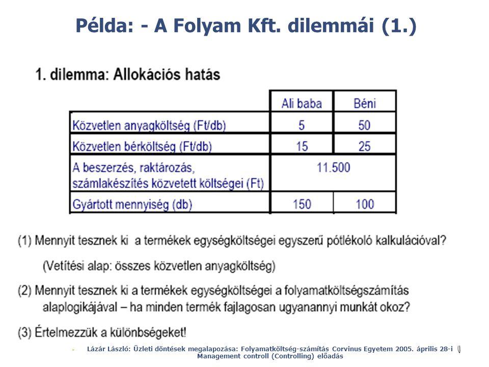 Példa: - A Folyam Kft. dilemmái (1.)