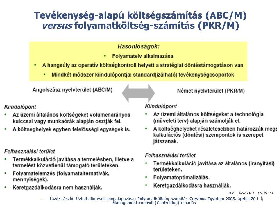 Tevékenység-alapú költségszámítás (ABC/M) versus folyamatköltség-számítás (PKR/M)