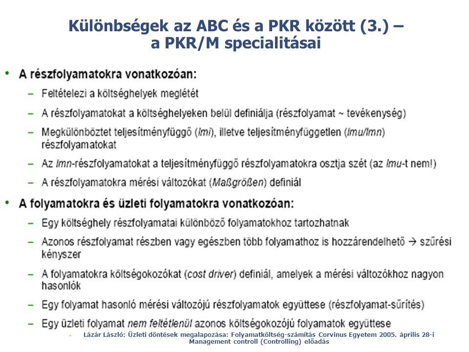 Különbségek az ABC és a PKR között (3.) – a PKR/M specialitásai
