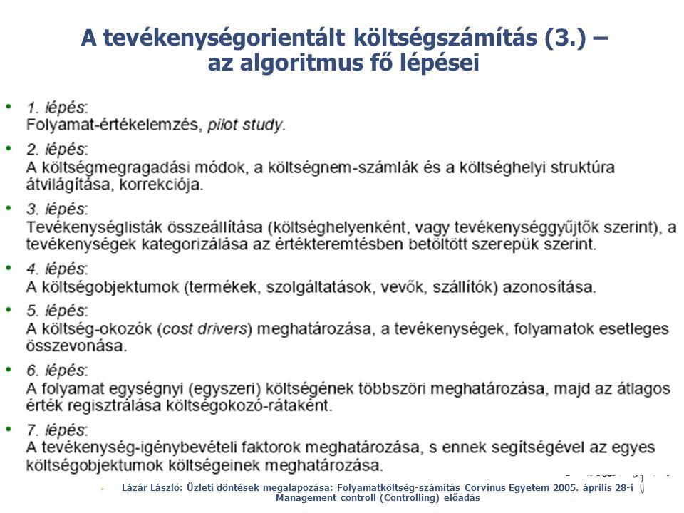 A tevékenységorientált költségszámítás (3.) – az algoritmus fő lépései