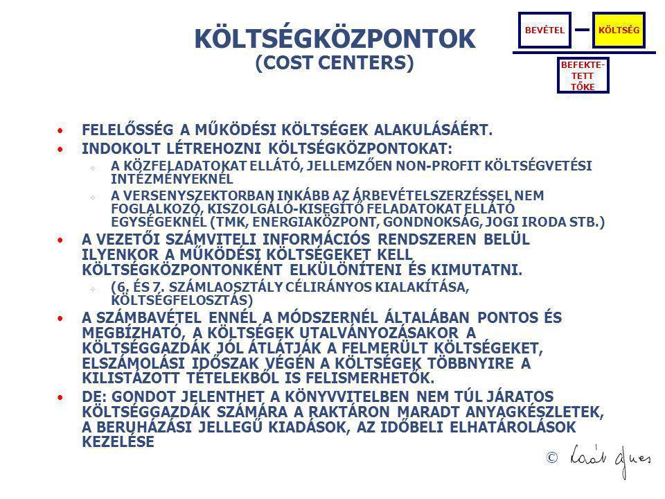 KÖLTSÉGKÖZPONTOK (COST CENTERS)