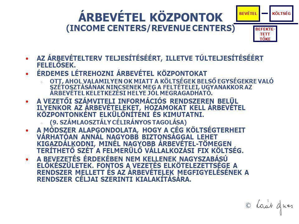 ÁRBEVÉTEL KÖZPONTOK (INCOME CENTERS/REVENUE CENTERS)