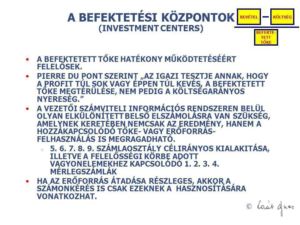 A BEFEKTETÉSI KÖZPONTOK (INVESTMENT CENTERS)